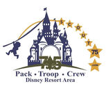 Combined logo for Pack 75 -Troop 75 - Crew 75, proudly serving the Disney Resort Area of Southern Anaheim - Northern Garden Grove, CA for over 60 years!